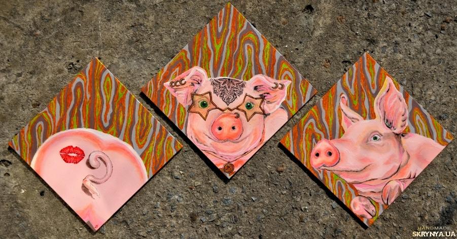 тут изображено Мила свинка. Олійні фарби.