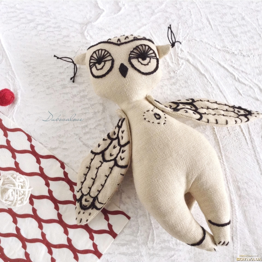 pictured here Linen Toy. Organic Stuffed Bird. Owl. Eсo Friendly Toy. With Letter O.