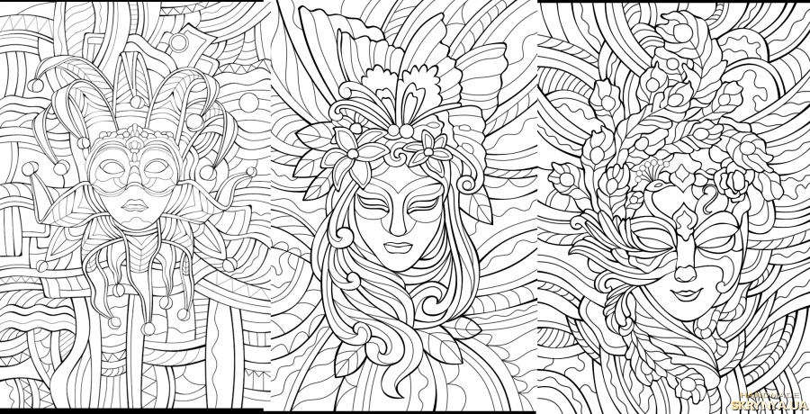 pictured here Antistress coloring pictures ′Masks′