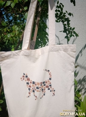 pictured here Shopper bag with handmade embroidery