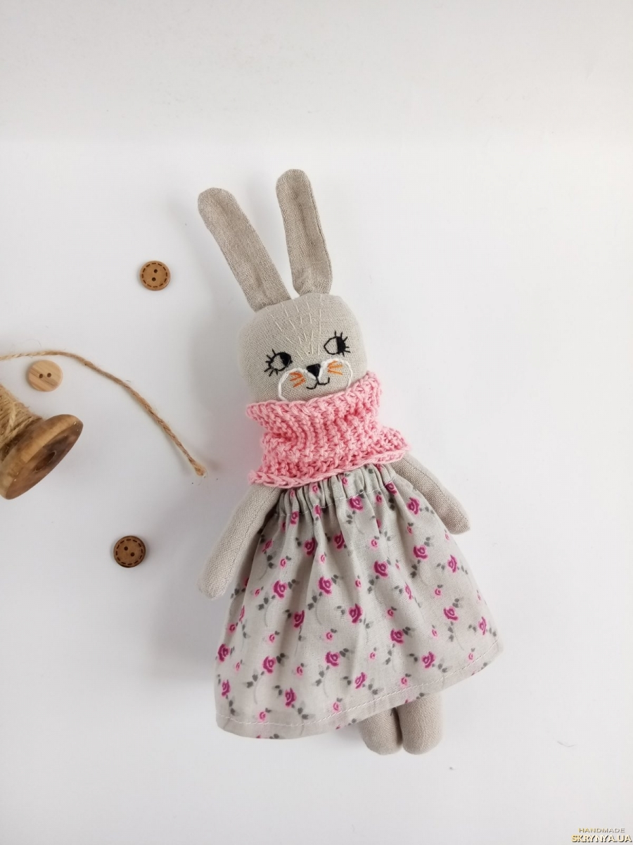 pictured here Organic bunny doll, Stuffed animal, Organic toy in floral dress, Eco toys