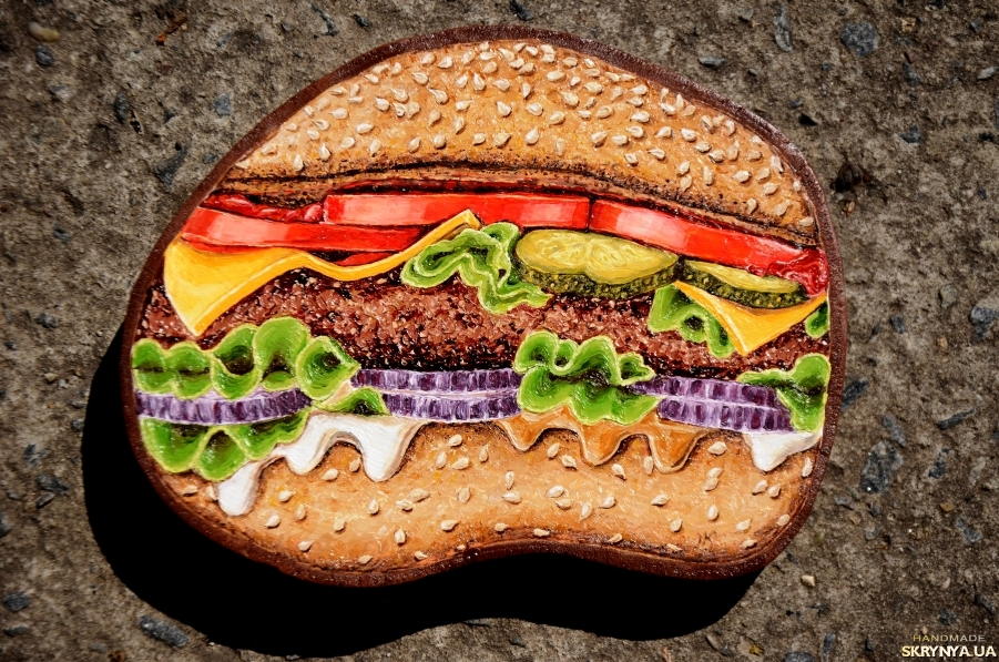 pictured here Burger. 3D Oil Paints on Wood Slice.