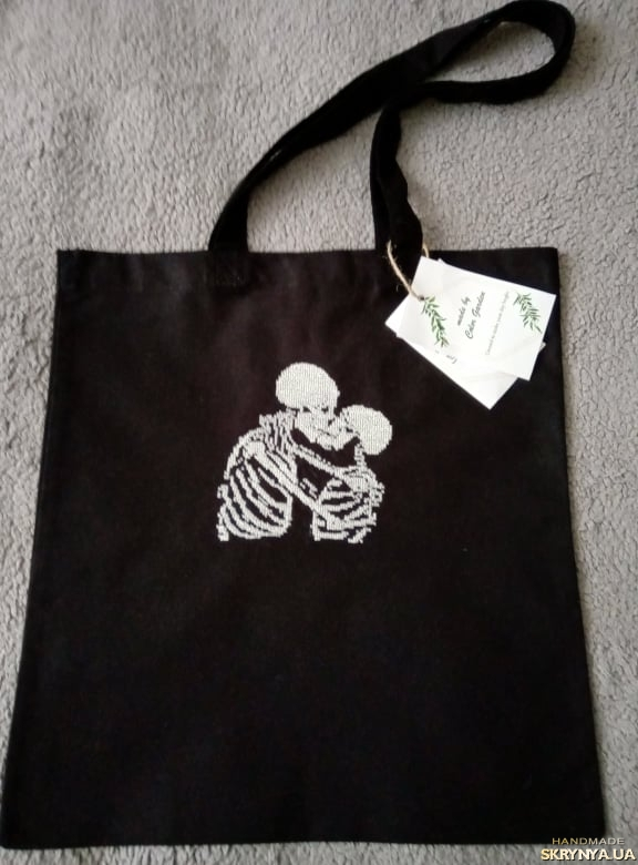pictured here Eco bag with embroidery ′Skeletons in love′