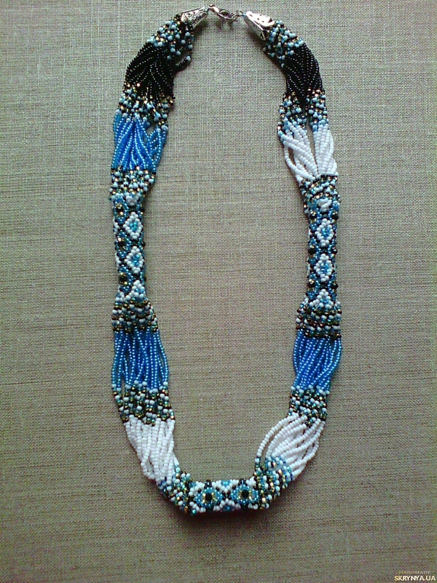 pictured here Beaded Ethno necklace gerdan blue-black-white