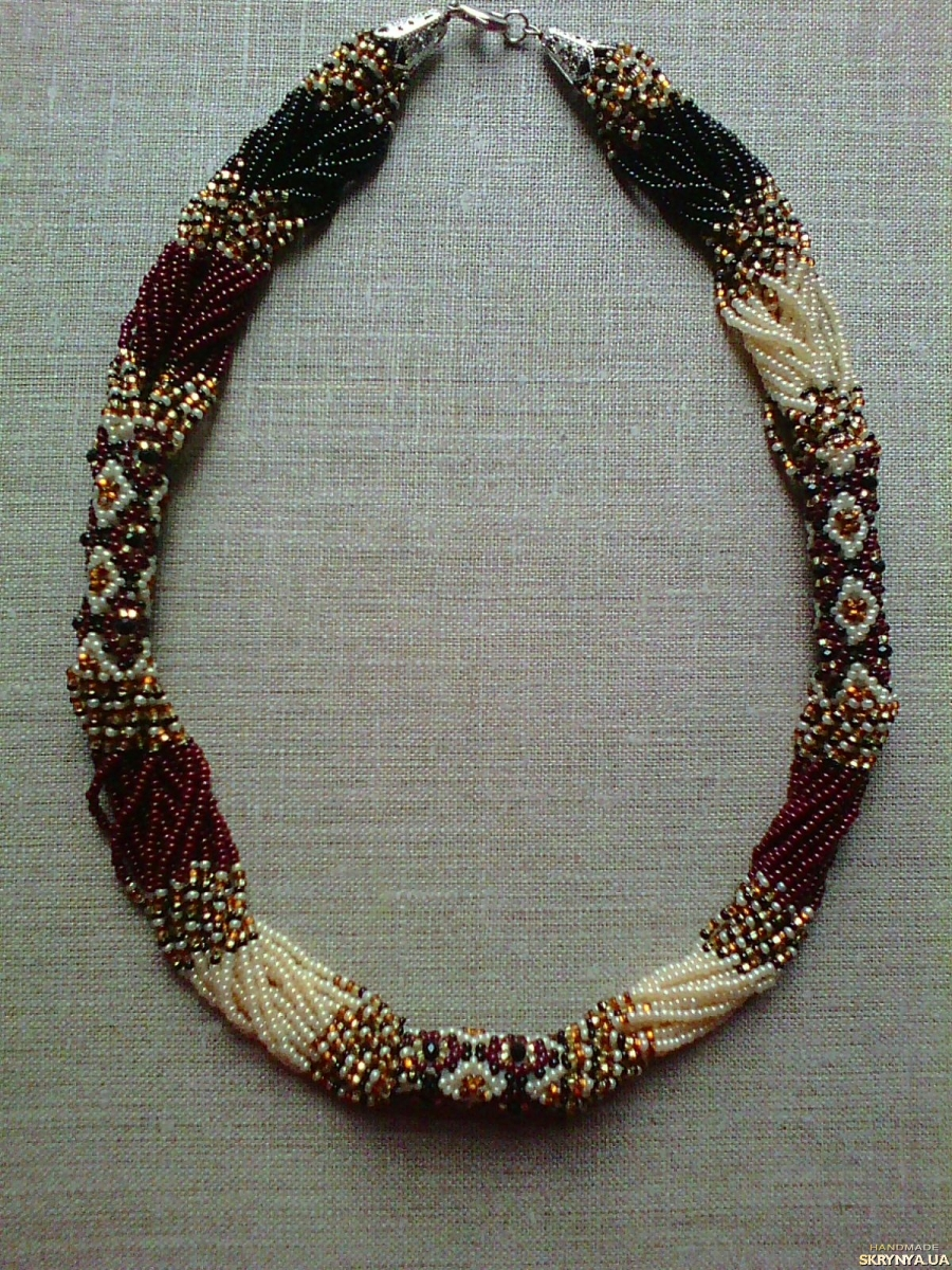 pictured here Beaded Ethno necklace gerdan brown-black-beige