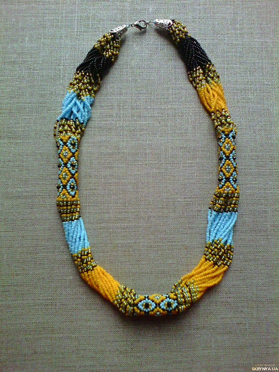 pictured here Beaded Ethno necklace gerdan red-black-white