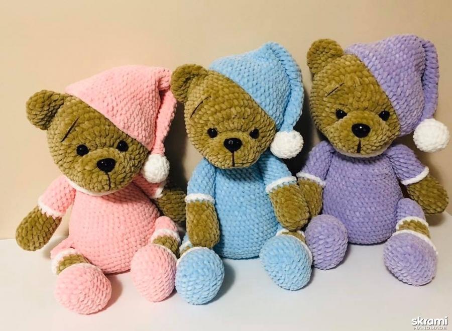 pictured here  Handmade crohet teddy bear