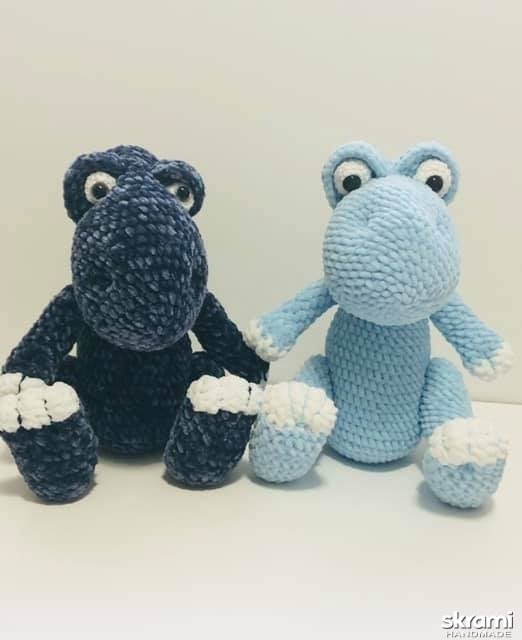 pictured here Crocheted  dinosaur.