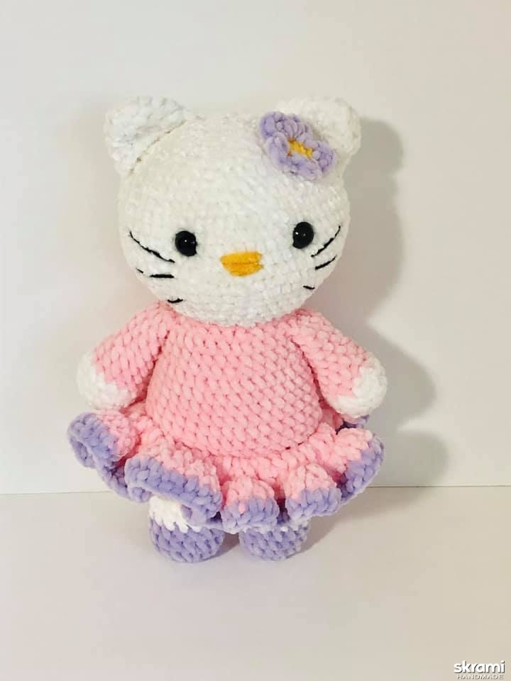 pictured here Hello Kitty crocheted toy