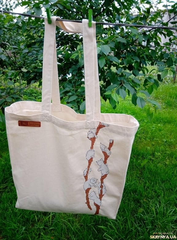 pictured here Bag shopper willow cats