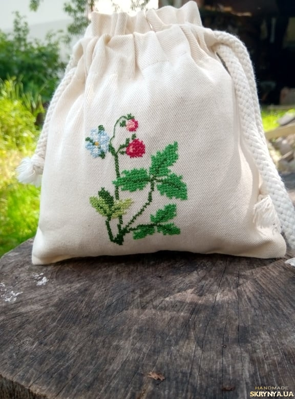 pictured here  Bag for storing strawberry herbal tea