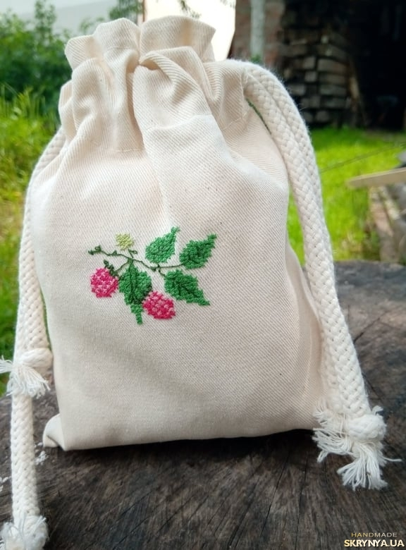 pictured here Bag for storing  raspberry herbal tea