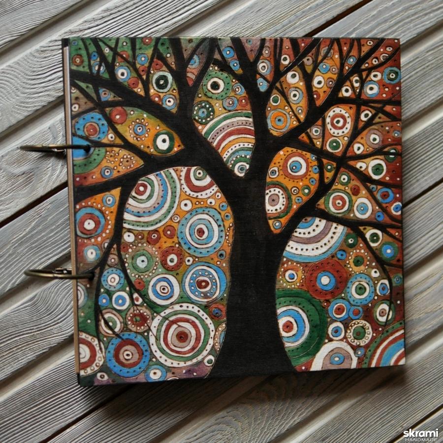 тут изображено Блокнот из дерева 22х22см ′Цветные сны-2′