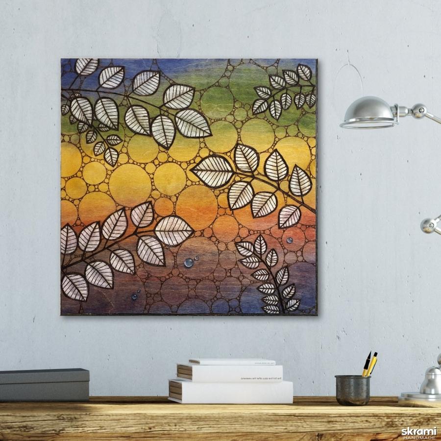 тут изображено Картина на дереве 50х50см ′Веточки′