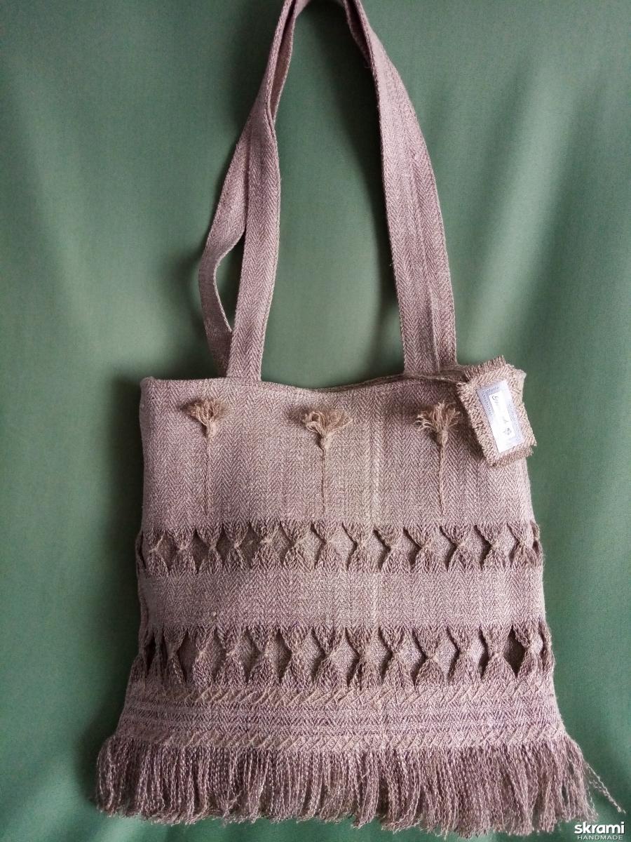 тут изображено Льняная сумка ′Васильки′