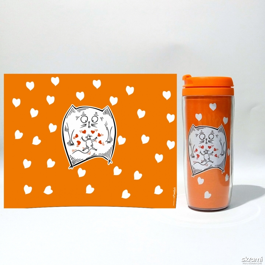 pictured here Thermomug ′Odd Love′ #3 orange (′Cats and Love′ series)