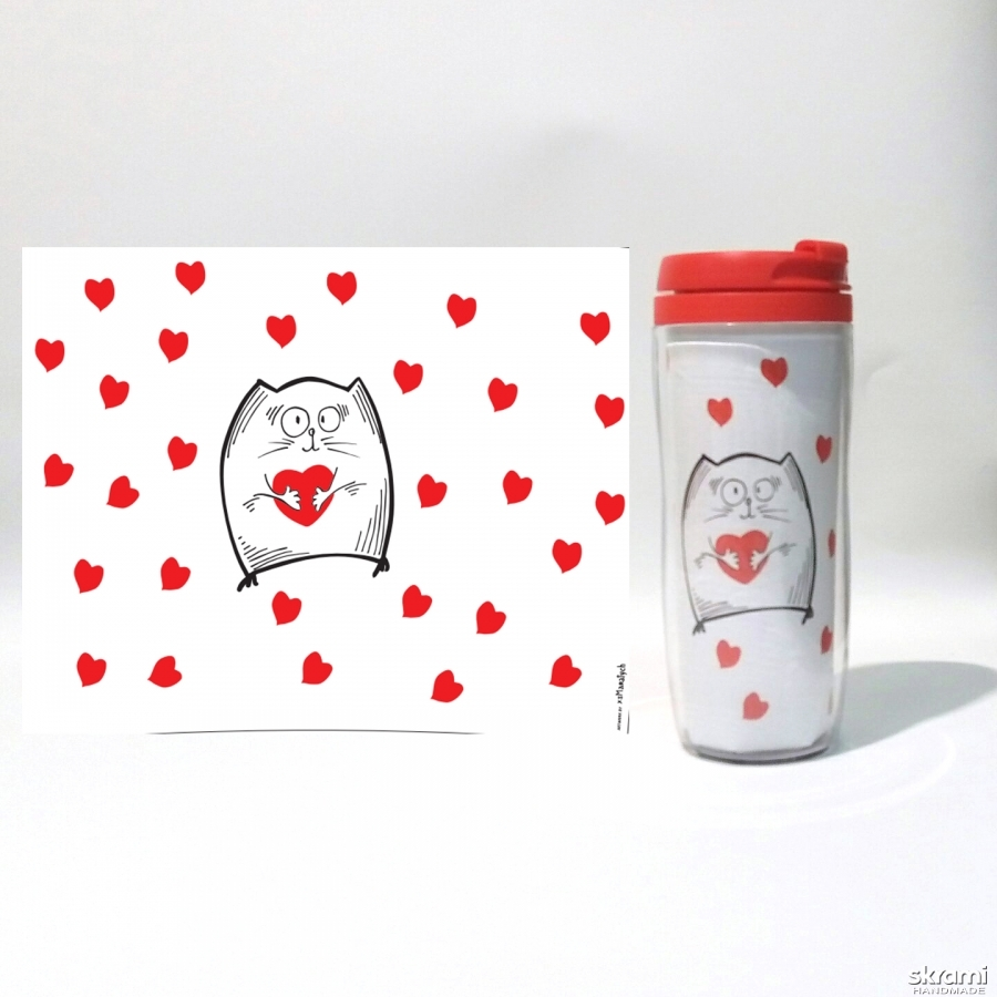 pictured here Thermomug ′Cat with heart′ #1 white (′Cats and Love′ series)