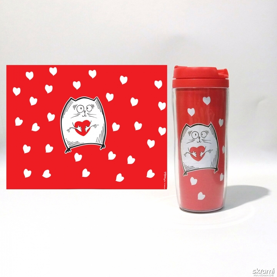 pictured here Thermomug ′Cat with heart′ #2 red (′Cats and Love′ series)