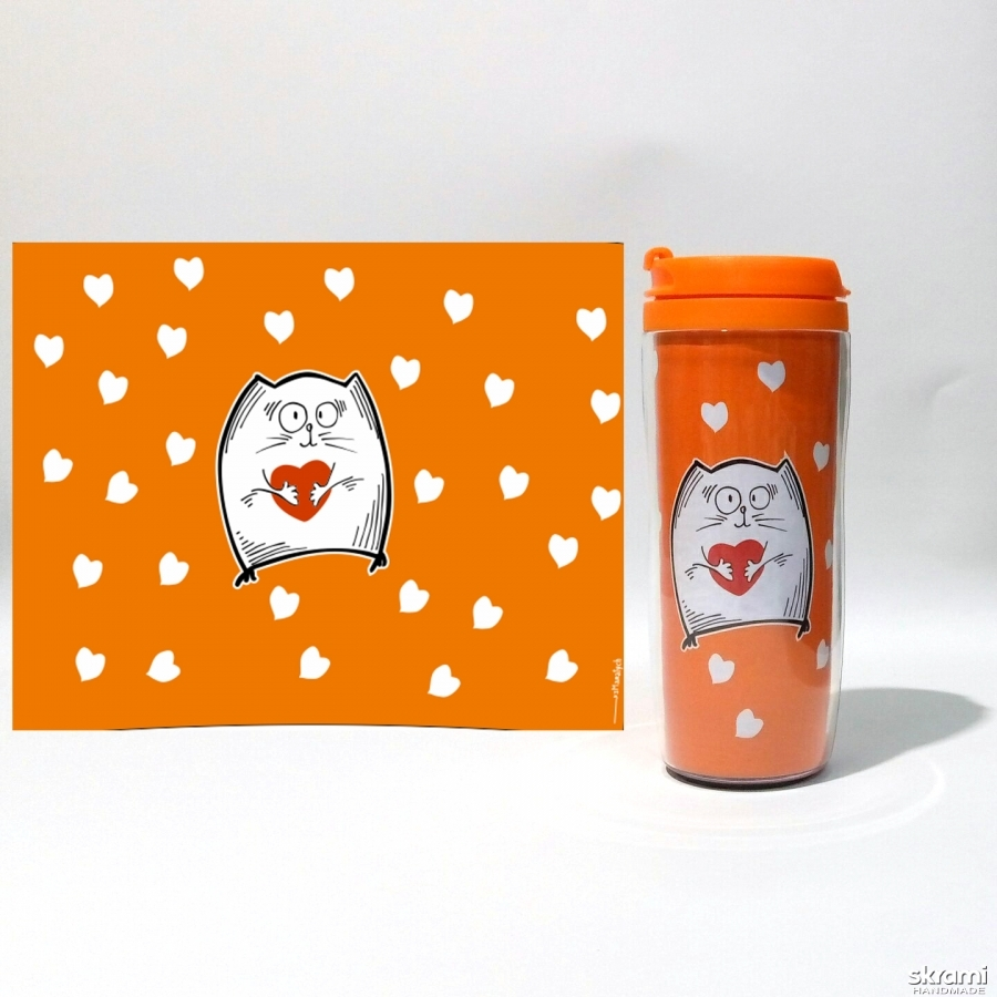 pictured here Thermomug ′Cat with heart′ #3 orange (′Cats and Love′ series)