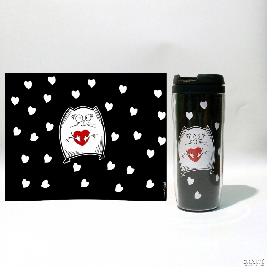 pictured here Thermomug ′Cat with heart′ #4 black (′Cats and Love′ series)