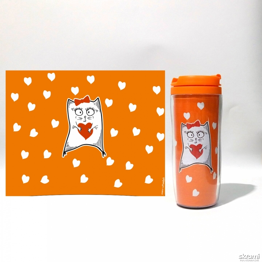 pictured here Thermomug ′Pussycat with heart′ #3 orange (′Cats and Love′ series)