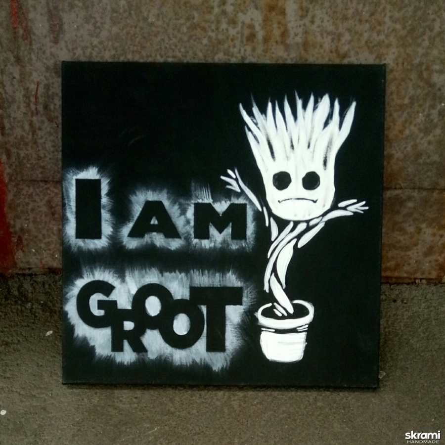 pictured here Painting ′I am Groot′ 40*40cm, acrylic on canvas