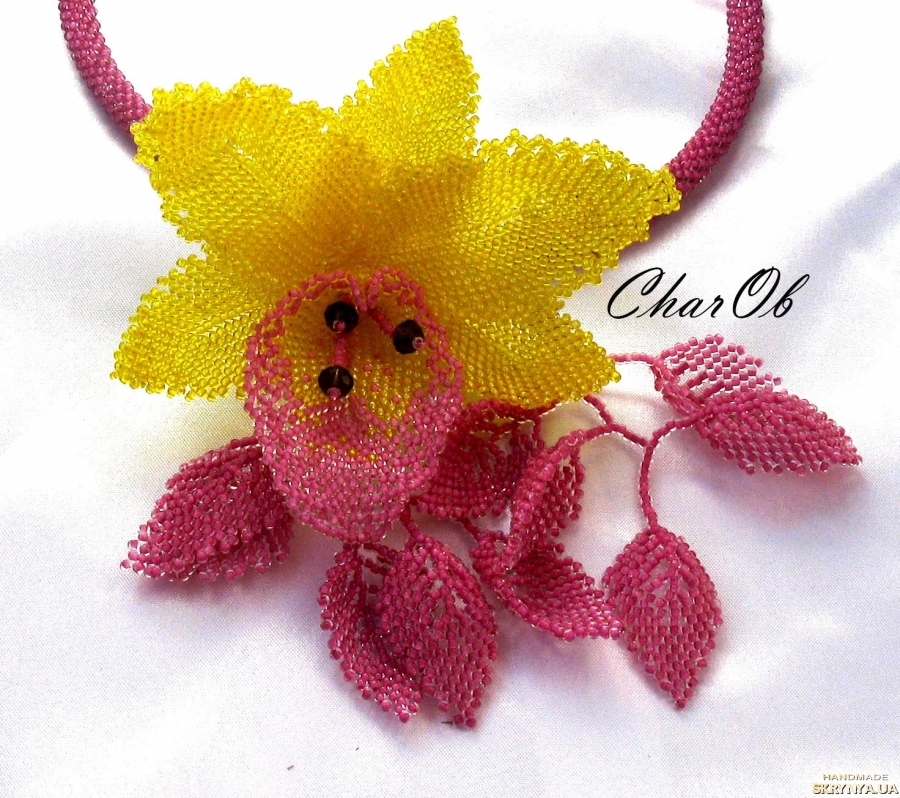 pictured here  Necklace ′Orchid′ lemon-lingonberry