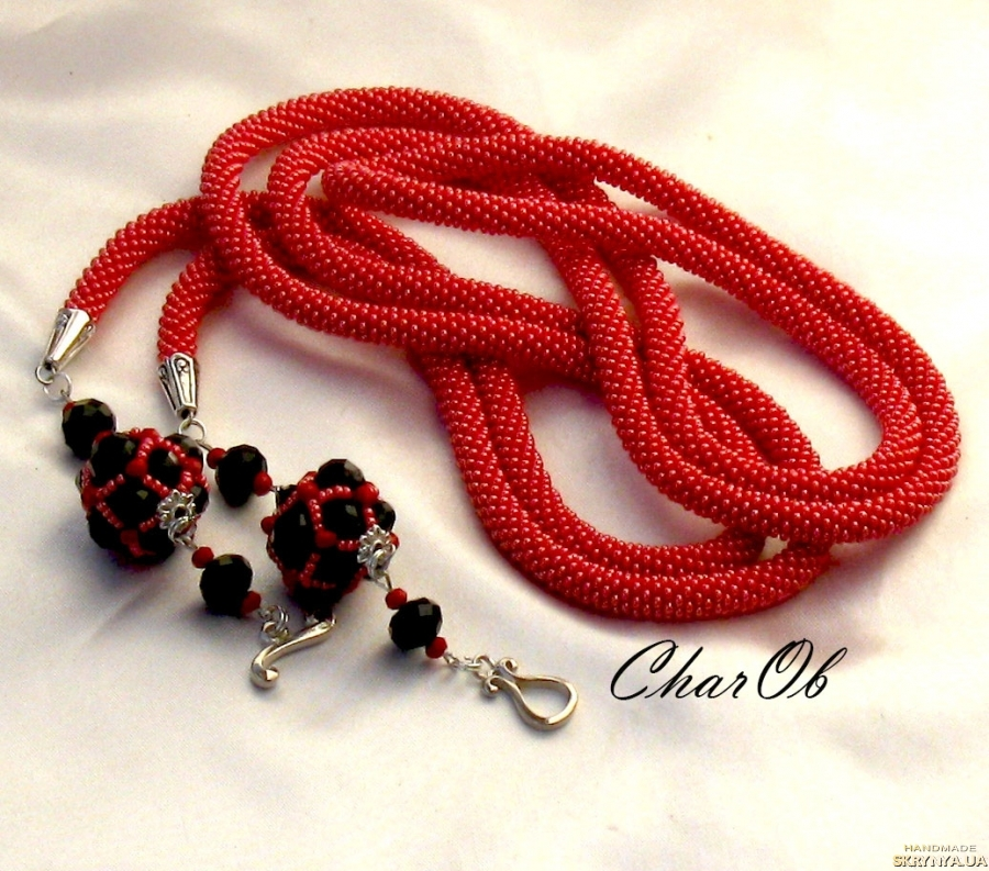 pictured here Lariat ′Cherry on the cake′ red cord from beads