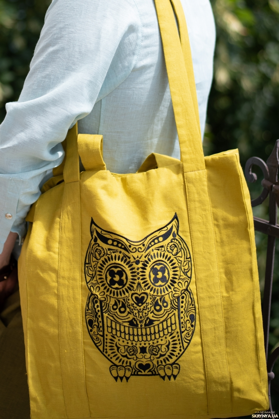 pictured here Mustard linen Tote bag with skull OWL Calavera Buho