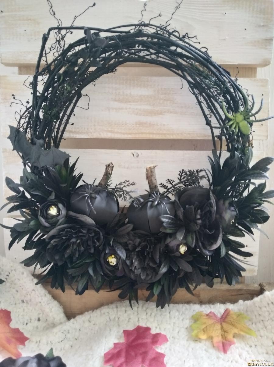 pictured here Bat black gothic front door halloween wreath