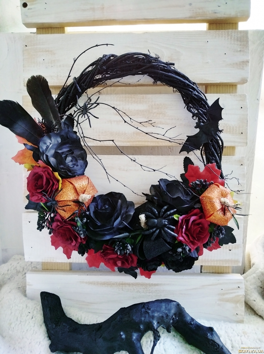 pictured here Black wreath, gothic wreath, halloween front door decor, bat wreath