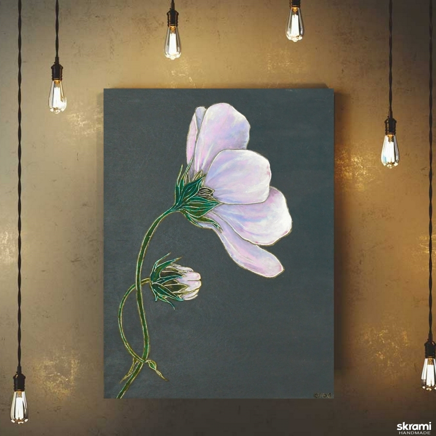 тут изображено Картина на дереве 40х30см ′Космея розовая′