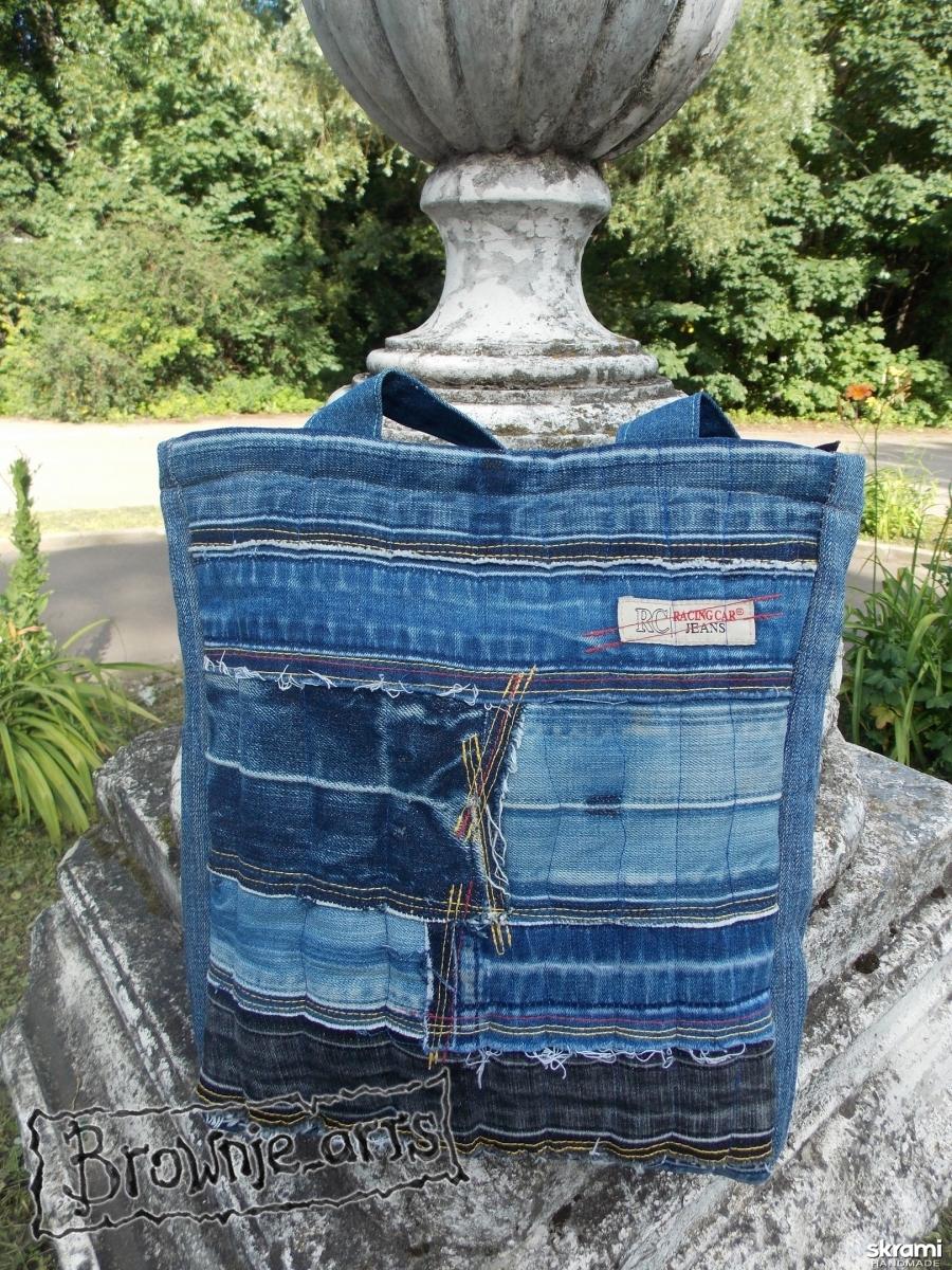 тут изображено Сумка стёганая джинсовая