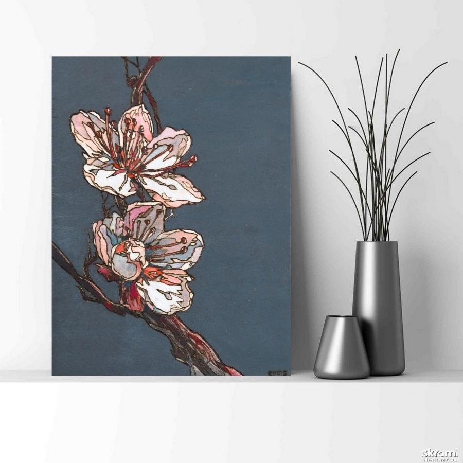 тут изображено Картина на дереве 40х30см ′Сакура′