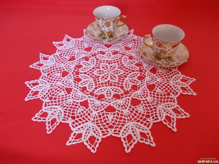 pictured here Crochet doily ′Shamrock′
