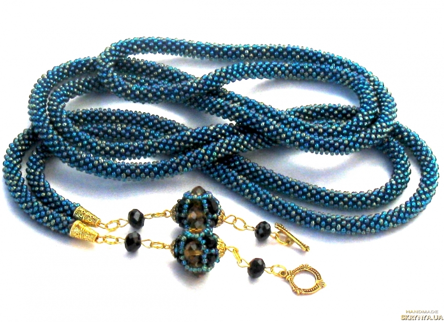 pictured here  Lariat from beads ′Mariabella′. Long necklace