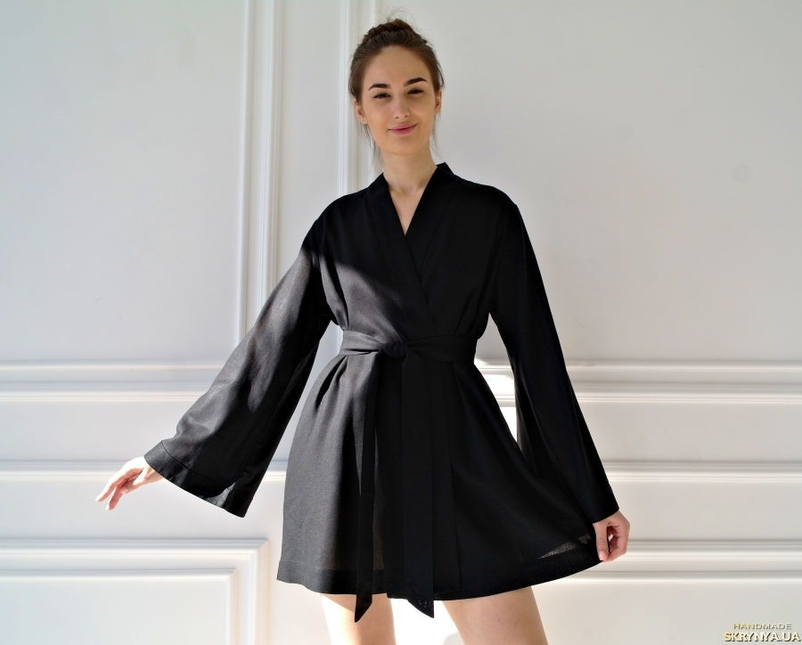 pictured here Black Women Linen Robe
