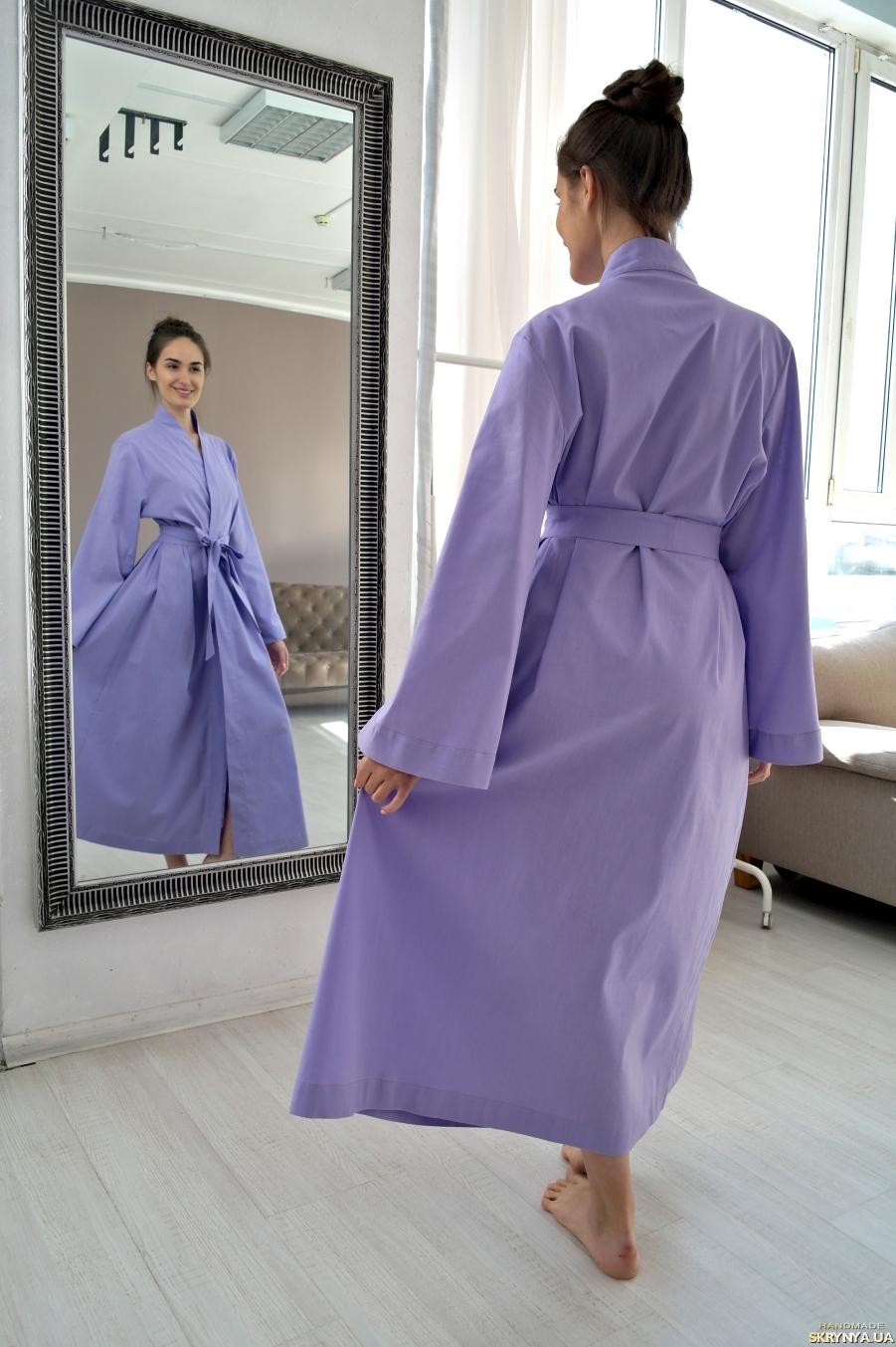 pictured here LAVENDER MAXI LINEN ROBE, LINEN WRAP DRESS