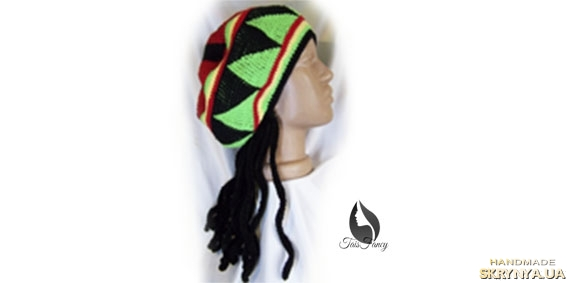 pictured here Rasta beret with dreadlocks