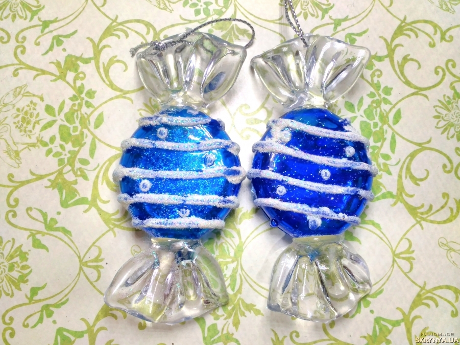 pictured here Christmas decorations figured Blue sweets №3
