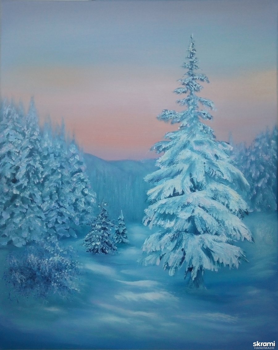 тут изображено Картина маслом. Зимний лес на рассвете