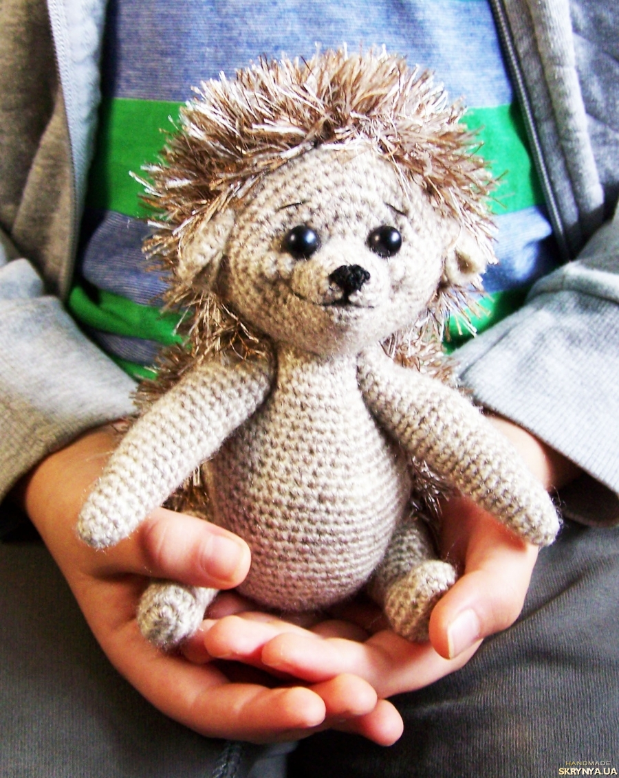 pictured here Hedgehog, knitted toy