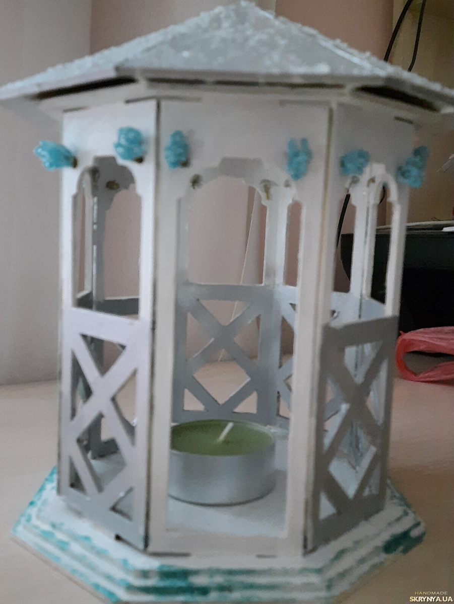 pictured here Wooden lantern and candle holder ′ Winer magic ′