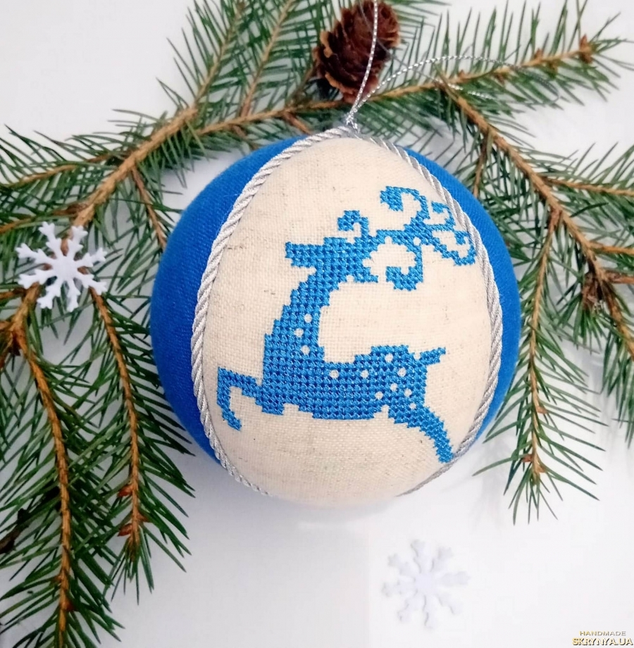 pictured here Christmas tree decoration with embroidery