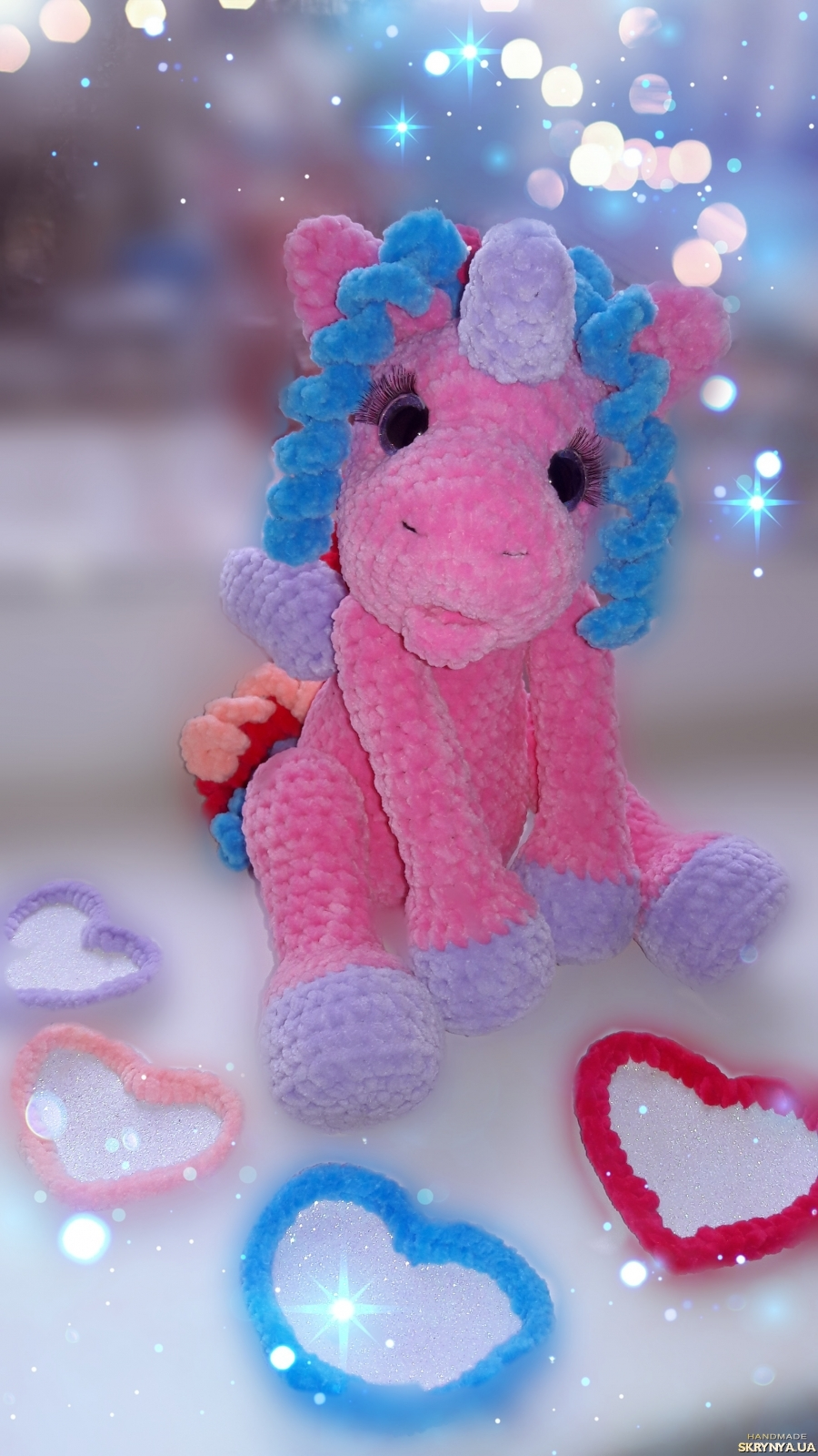 pictured here Soft toy unicorn.