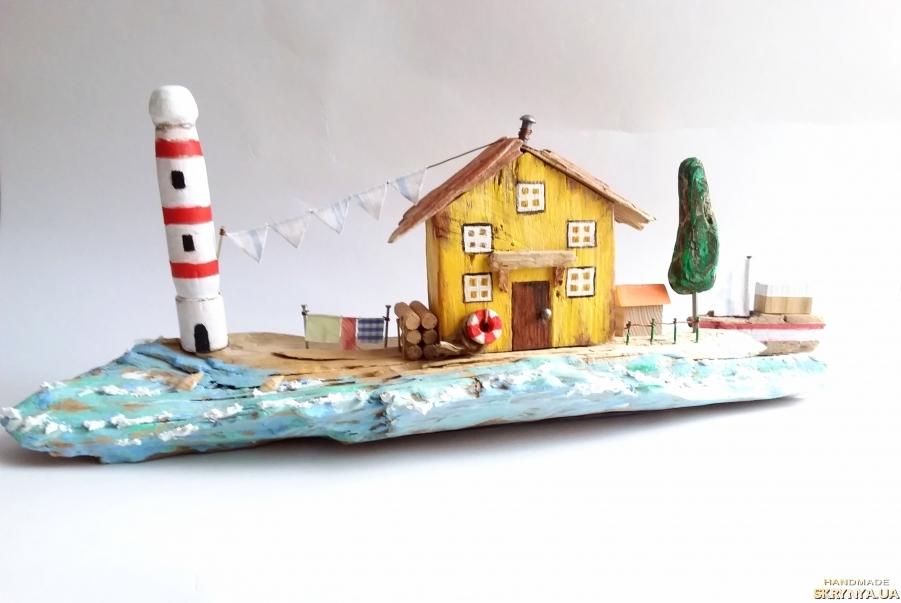 тут изображено Интерьерная композиция Домик смотрителя маяка, домики дрифтвуд