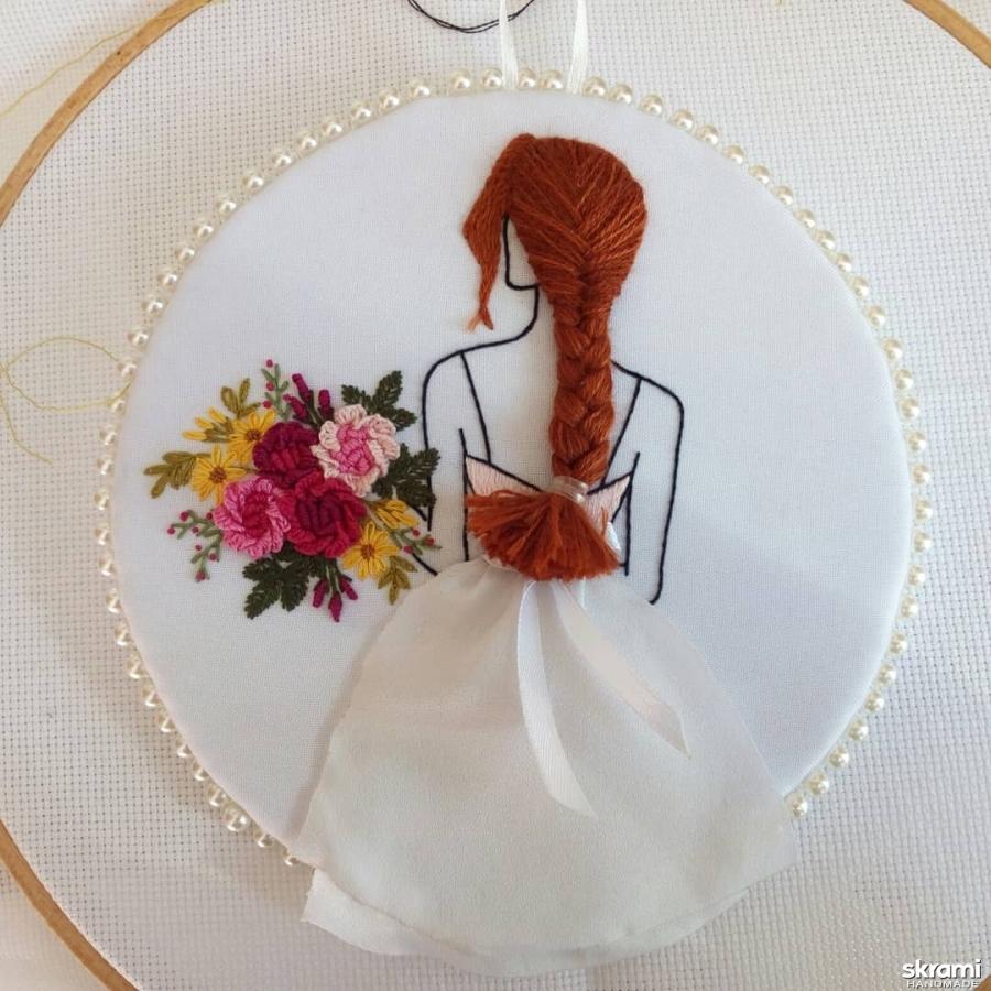 тут изображено Миниатюра девушка с цветами
