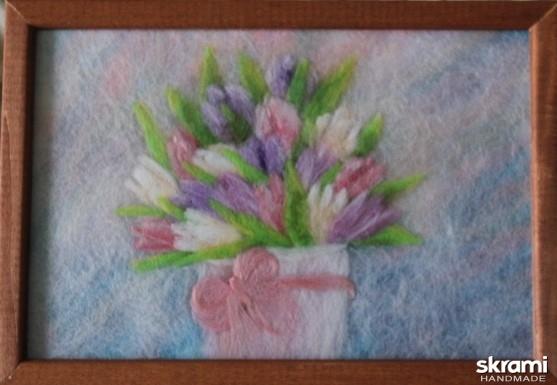 тут изображено Картина из шерсти Тюльпаны