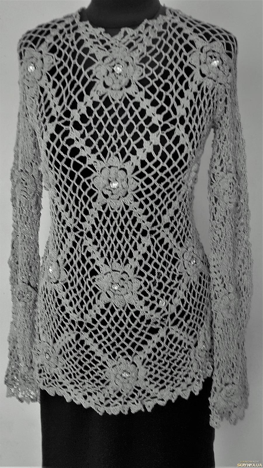 pictured here Ажурная вязанная туника серо-стального цвета на 46 - 50 р-р.