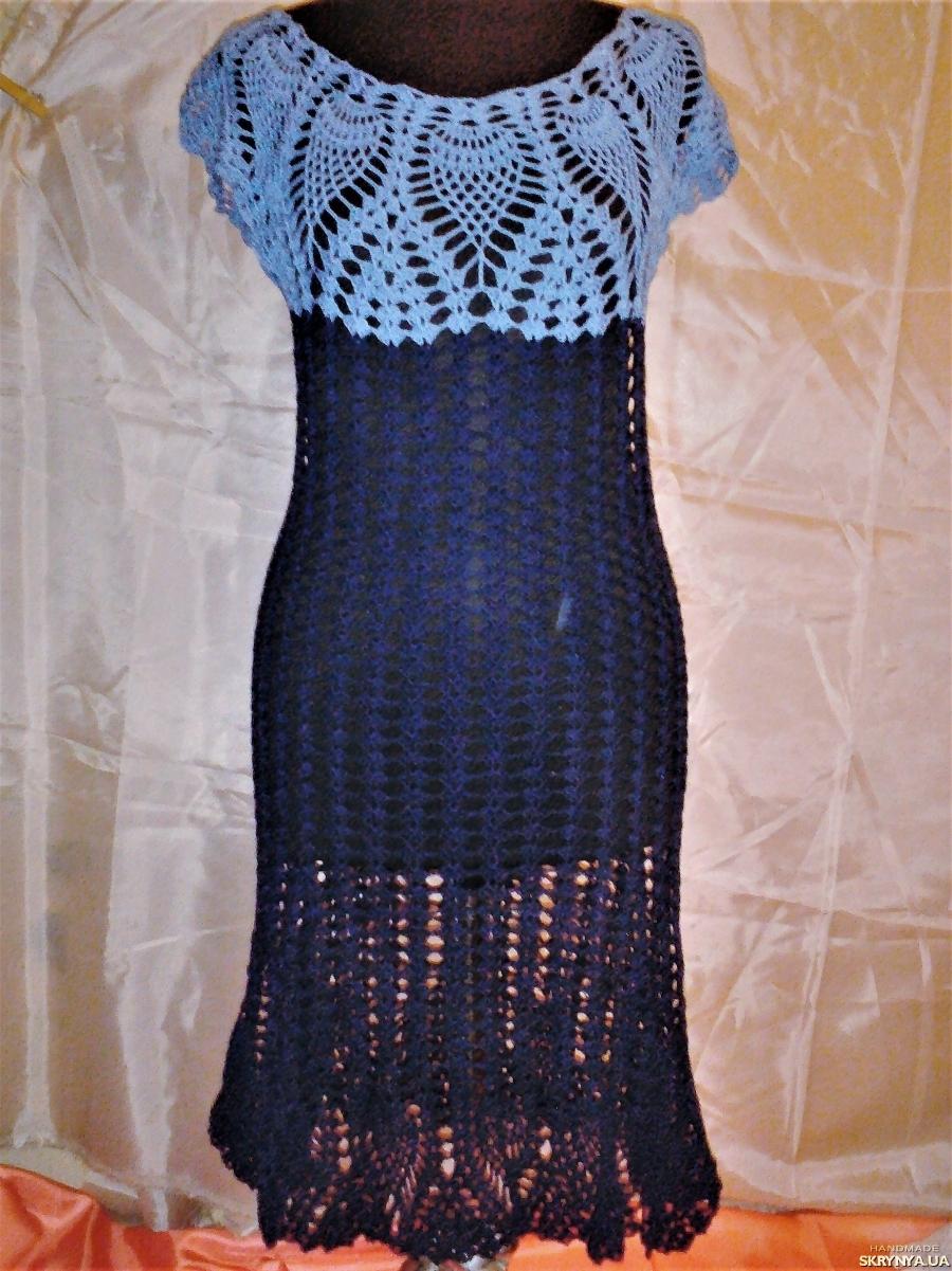 pictured here Ажурное вязанное женское платье синего цвета ручной работы размер 42-44